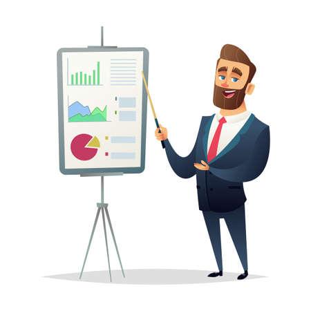 Geschäftsmann zeigt einen Finanzbericht. Der Manager macht eine Präsentation. modernes flaches Design Vektorgrafik