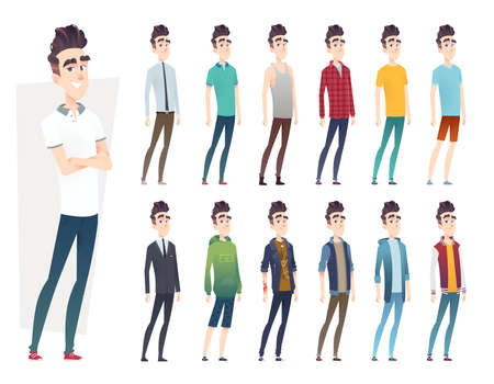 Kleidersammlung des jungen Mannes. Kerl in verschiedenen Kleidungsstilen