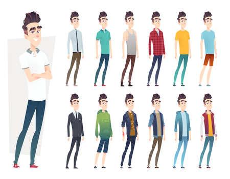 Kolekcja ubrań młodego człowieka. Facet w różnych stylach ubrań