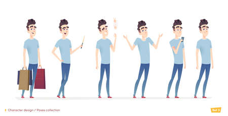 Young man character in different poses and situation. Modern flat cartoon style Illustration