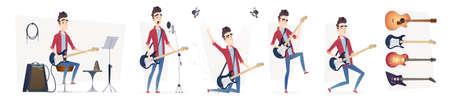 Gitarrist in verschiedenen dynamischen Posen. Leistung des Gitarristen. Design in einem modernen Cartoon-Flat-Stil