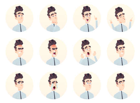 Colección de avatar de joven empresario. Conjunto de expresión y emoción. Ilustración de vector