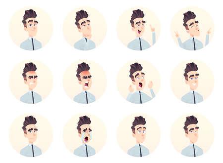 Young businessman avatar collection. Expression and emotion set Vektoros illusztráció