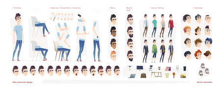 Young man character for your print, web and motion design. Creation kit. Set of flat male cartoon character body parts, hairstyles,  facial gestures, hairstyles, trendy clothing, rase