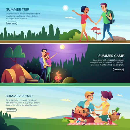 Happy cheerful  couples outdoor recreation. A series of banners in cartoon style. Ilustração