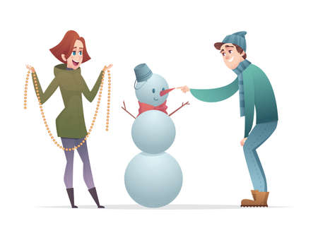 Cheerful guy and the girl make a snowman. Cartoon modern characters design.