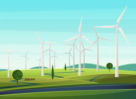 Rural narure with windmills, wind turbines, field, trees. Summer landscape with windmills as symbol of ecological energy