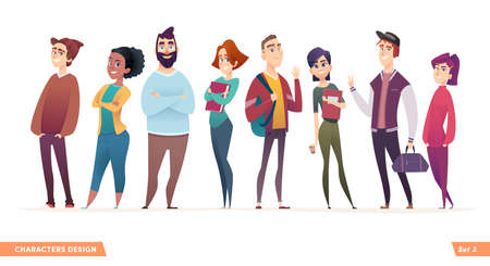 Group of charismatic smiling young people standing together. People and students,  young professionals collection. Cartoon characters design for your projects Illusztráció