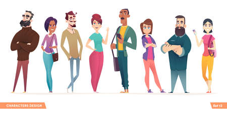 Group of charismatic smiling young people standing together. People and students,  young professionals collection. Cartoon characters design for your projects Illustration