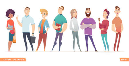 Group of charismatic smiling young people standing together. People and students, young professionals collection. Cartoon characters design for your projects