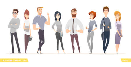 Collection of charming young entrepreneurs or businessmen and managers. Business people standing togever. Flat modern cartoon style.