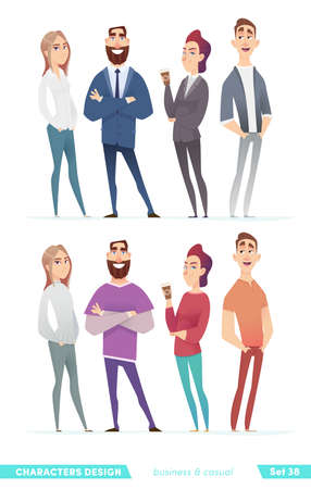 Collection of charming young entrepreneurs or businessmen and managers. Business people standing togever. Flat modern cartoon style