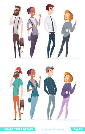 Collection of charming young entrepreneurs or businessmen and managers. Business people standing. Flat modern cartoon style