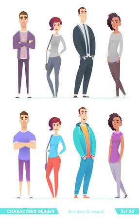 Collection of charming young entrepreneurs or businessmen and managers. Business people standing together. Flat modern cartoon style