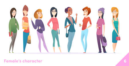 Women character design collection. Modern cartoon flat style. Females stand together. Young females in different poses. Illustration
