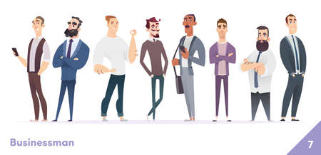 Businessman or people character design collection. Modern cartoon flat style. Young professional males poses.