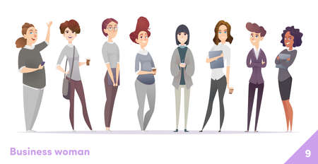 Business women character design collection. Professional females stand together. Illustration