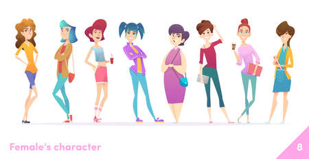 Women character design collection. Modern cartoon flat style. Females stand together. Young females in different poses