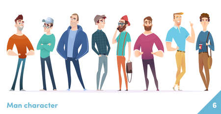 People character design collection. Modern cartoon flat style. Males or manegers stand together. Young professional males poses.