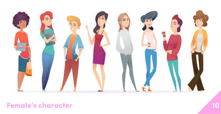 Women character design collection. Young females stand togethe. Illusztráció
