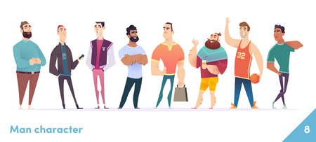 People character design collection. Young professional males stand together