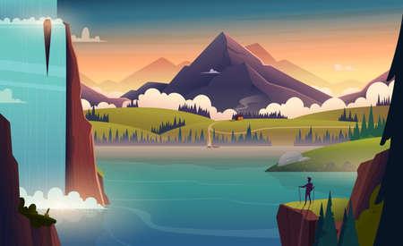Illustrazione moderna del paesaggio del fumetto del fiume in montagna con una cascata e una persona di fronte