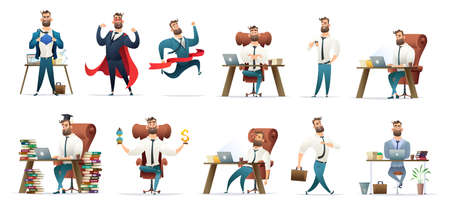 Bearded charming business men in different situations and poses. Manager character design. Businessman collection. Illustration