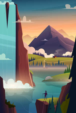 Modern cartoon poster of waterfall and lake in the mountains at sunrise with silhouette of human on rock in front.