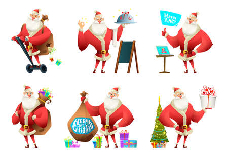 Cartoon modern design set of santa claus poses. Santa in different situations. Vector illustration Illustration