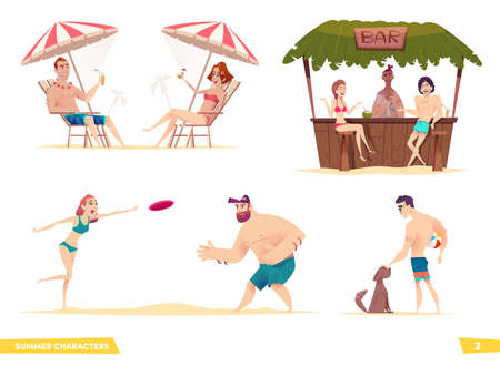 Happy young people resting on the beach. Collection of modern cartoon summer characters