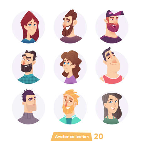 Cheerful young people avatar collection. User faces. Trendy modern style. Flat Cartoon Character design. Illustration
