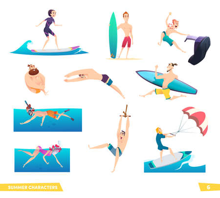 Extreme summer water sport. People and sea activities. Collection of summer characters.