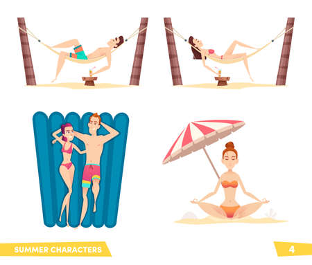 Collection of summer beach cartoon characters. People enjoy a beach holiday. Illustration