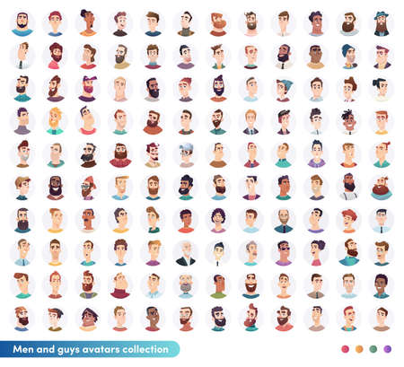 Cheerful young Men and guys avatars avatar collection.People User faces. Trendy modern style. Flat Cartoon Character design