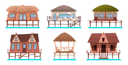 Houses and bungalow collection on the water. Cartoon set of hotels and resort houses for tropical hotels on sea shore