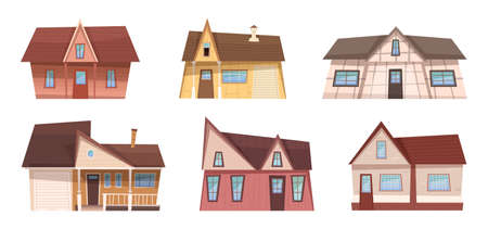 Collection of private houses and cottages. Cartoon villas and resorts