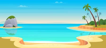 Cartoon summer beach. Paradise nature vacation, ocean or sea seashore. Seaside landscape