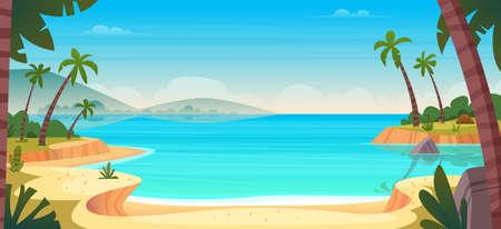 Cartoon summer wild paradise beach. Paradise nature vacation, ocean or sea seashore. Seaside landscape Ilustrace