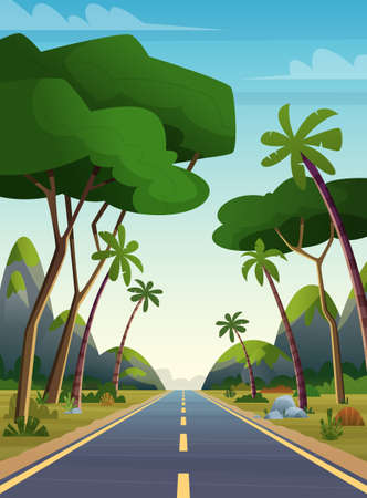 Long road among the jungle. High way through mountains and palms somewhere in Asia. Cartoon background Vector Illustratie