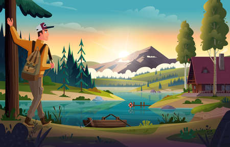 Camper Man looking at the mountain lake and hut on coast. Landscape of discovery, hiking, adventure and travel.