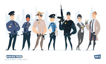 Police officers collection, police man and police woman team. Cops and officers security in uniform standing together