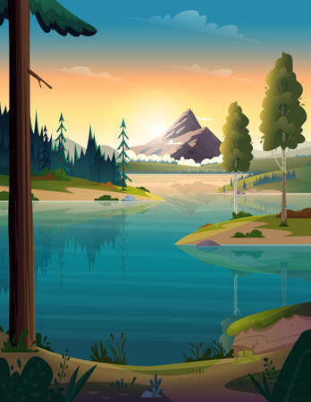 Clear turquoise mountain lake view. Rocky mountains on the river bank. Dawn or sunset in the mountains above the lake Ilustracja