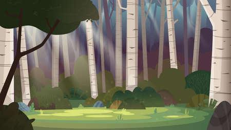 Cartoon magic summer birch forest glade with sunbeams. Forest wilderness landscape. Ilustrace