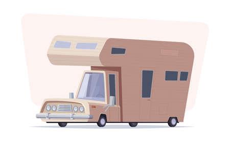 Mobile home vector cartoon illustration. Family traveler truck