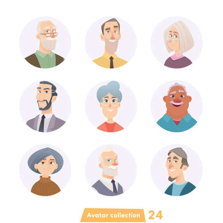 Cheerful young people avatar collection. User faces. Trendy modern style. Flat Cartoon Character design. Illusztráció