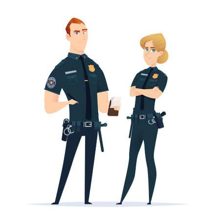 Police officer couple in the uniform standing together. Police characters. Public safety officers. Guardians of law and order. Illusztráció