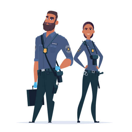 Police expert officer couple in the uniform. Police characters. Public safety officers. Guardians of law and order