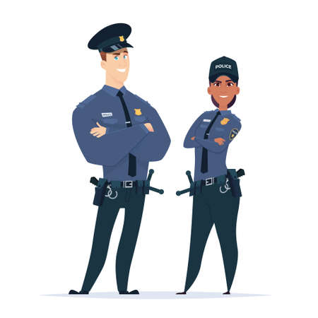 Police officer couple in the uniform standing. Police characters. Public safety officers. Guardians of law and order