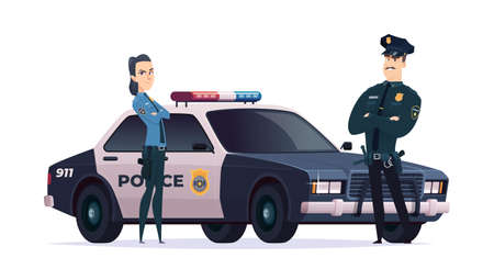 Cartoon police officers man and woman team. Public safety officers with police car. Guardians of law and order. Illustration