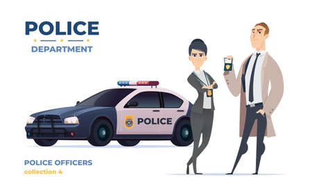 Cartoon police officers in civilian clothes, detective man and woman team. Police car.